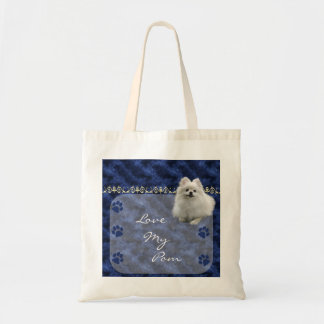 Love my Pom  Pomeranian Tote Bag  -blue