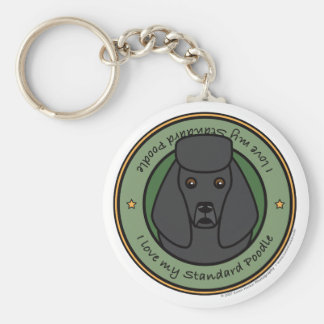 Love My Poodle Basic Round Button Keychain