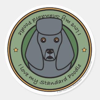 Love My Poodle Round Sticker