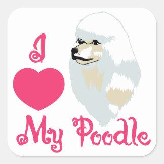 Love My Poodle Square Sticker