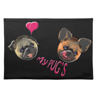 love my pugs placemat
