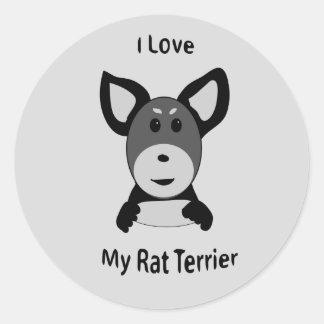 Love My Rat Terrier Sock Monkey Face Round Sticker