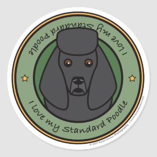 Love My Standard Poodle Round Sticker