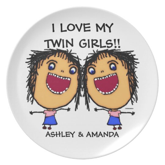 Love My Twin Daughters Cartoon Plate