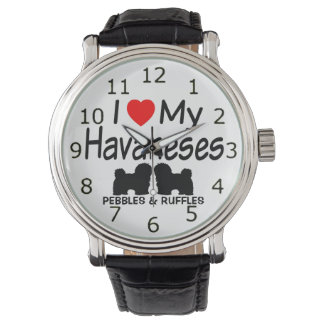 Love My TWO Havanese Dogs Wristwatch