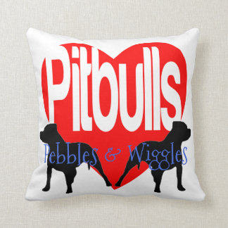 Love My Two Pitbull Dogs Personalized Pillow