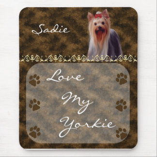 Love my Yorkie Yorkshire Terrier Mousepad -brown