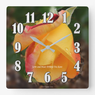 Love n Peace Yellow Rose Large Numbers Wall Clock