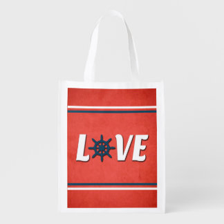 Love nautical design reusable grocery bag