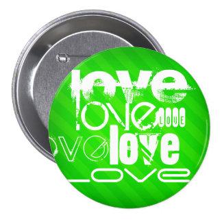 Love; Neon Green Stripes 3 Inch Round Button