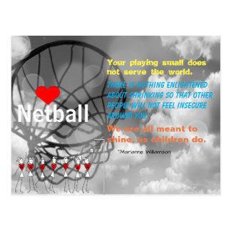 Love Netball Design and Inspirational Quote Postcard