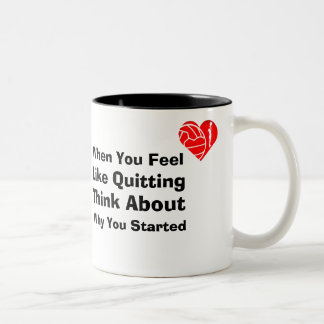 Love Netball Heart Theme Motivational Quote Two-Tone Coffee Mug