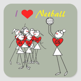 Love Netball Positions Stick Figures Square Sticker