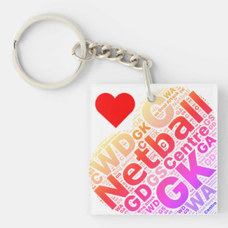 Love Netball Positions Typography Heart Design Keychain