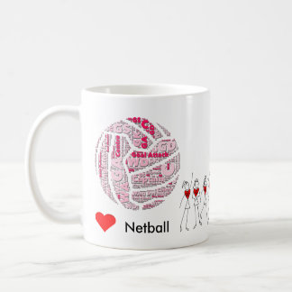 Love Netball Positions Word Cloud Coffee Mug