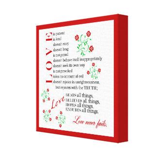 Love Never Fails | 1 Corinthians 13 4-8 Canvas Print