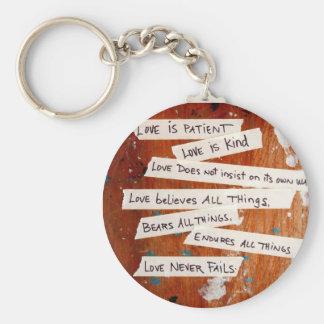 Love Never Fails Basic Round Button Keychain