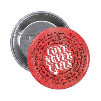 Love Never Fails Bible Verse 1 Corinthians 13:4-8 2 Inch Round Button