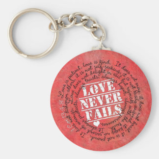 Love Never Fails Bible Verse 1 Corinthians 13:4-8 Keychain