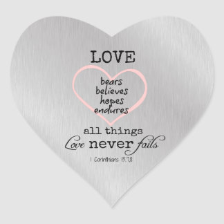 Love Never Fails Bible Verse Heart Sticker