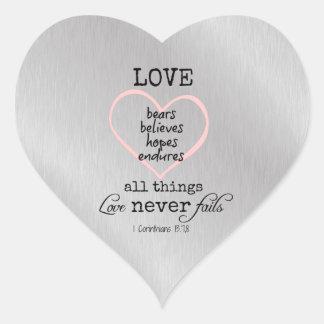 Love Never Fails Bible Verse Heart Sticker