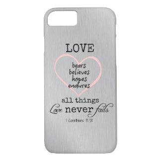 Love Never Fails Bible Verse iPhone 8/7 Case