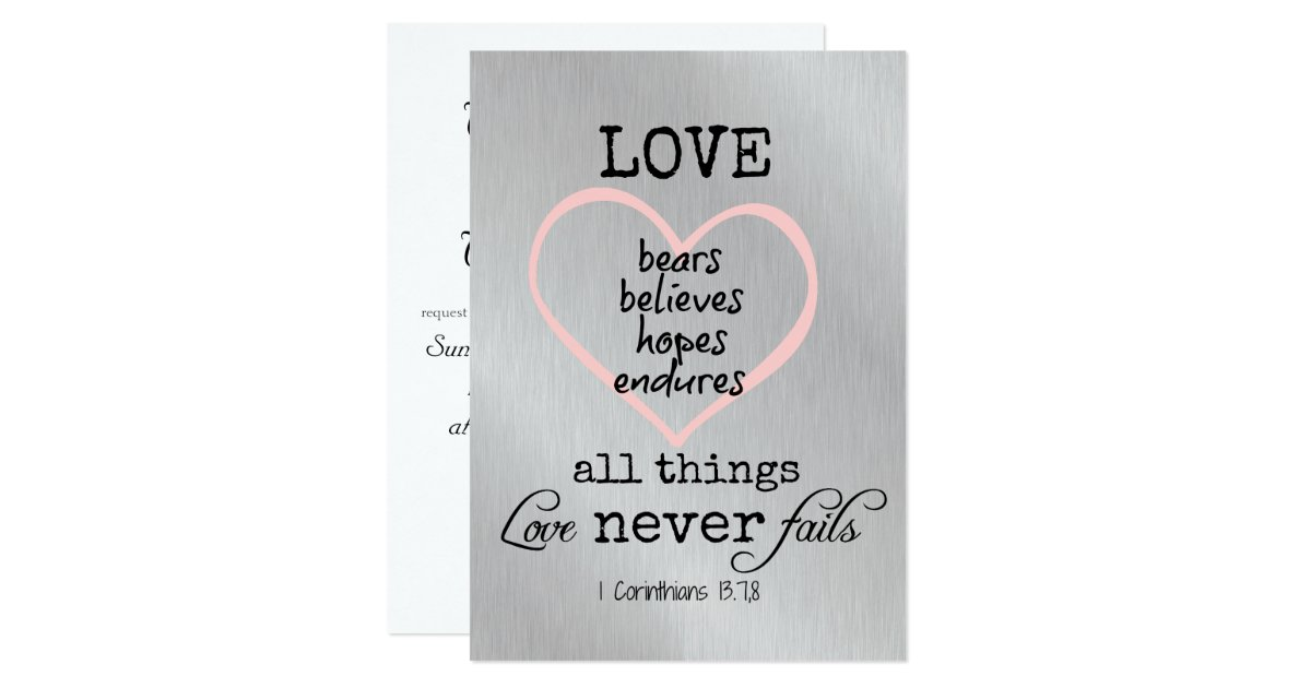 love never fails bible verse wedding 5 x 7 invitation