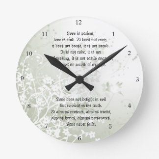 Love Never Fails Christian Scripture White Floral Round Clock