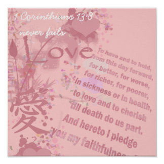 Love Never Fails Collage Wedding Vows Poster