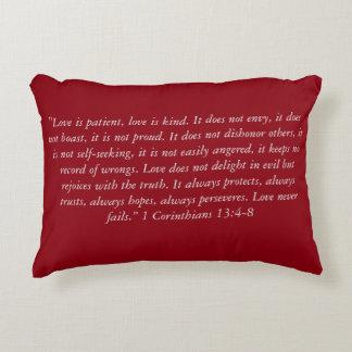 """""""Love Never Fails Complete Verse"""" Scripture Pillow"""