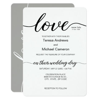 """Love"" never fails, Corinthians -  Elegant wedding Card"