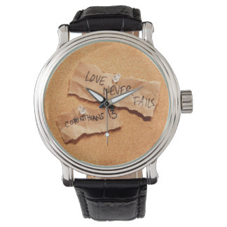 Love Never Fails Corkboard Watch