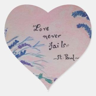 love never fails heart sticker