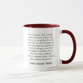 """Love never fails"" mug"