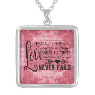 Love Never Fails Necklace (Pink)