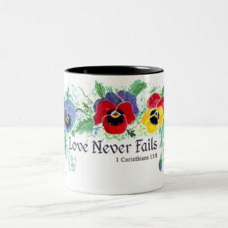 Love Never Fails (pansies) Two-Tone Coffee Mug