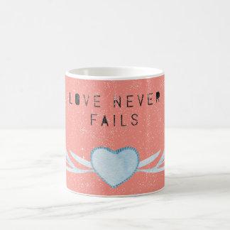 Love Never Fails, Pink Coffee Mug