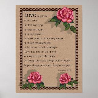 Love Never Fails: Pink Roses: Bible: Corinthians Poster