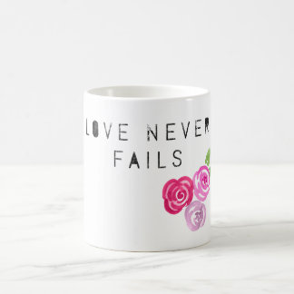 Love never Fails, rose Coffee Mug