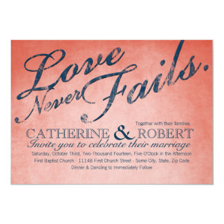 Love Never Fails Rustic Wedding Card