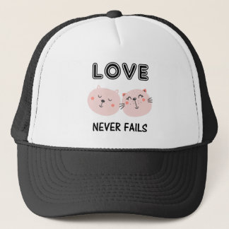 LOVE NEVER FAILS TWO CATS TRUCKER HAT