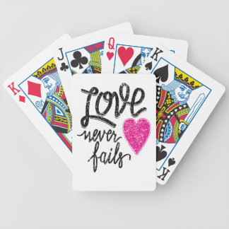 love never fails, vintage heart bicycle playing cards