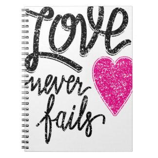 love never fails, vintage heart spiral notebook