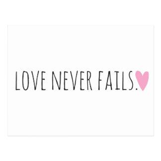 Love Never Fails with Heart Postcard