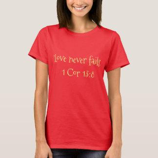 """Love Never Fails"" Women's Scripture Tshirt"
