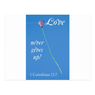 love never gives up postcard
