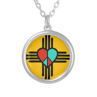 Love, New Mexico, Peace Silver Plated Necklace
