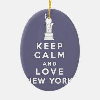 Love New York New York! Ceramic Oval Ornament