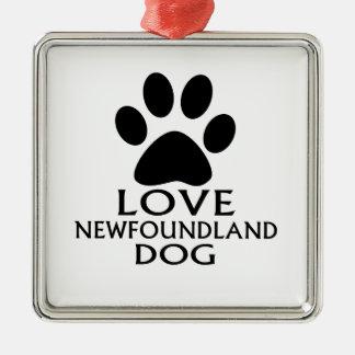 LOVE NEWFOUNDLAND DOG DESIGNS METAL ORNAMENT