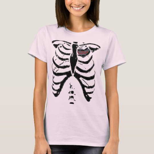 love news paper heart, rib cage T-Shirt